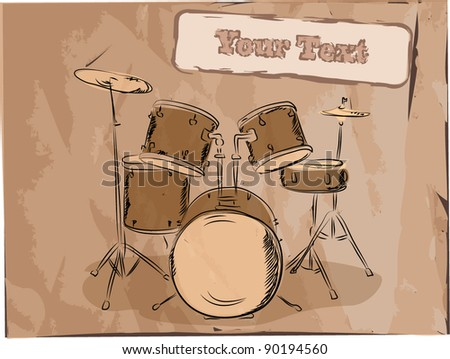Musical background, and style drums, the vector - stock vector
