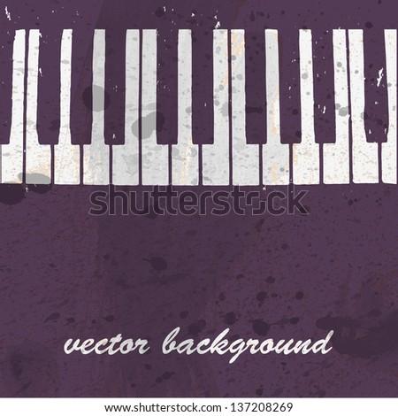 Musical background design with piano keyboard - stock vector