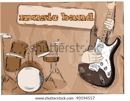 Musical background, music band, the vector - stock vector