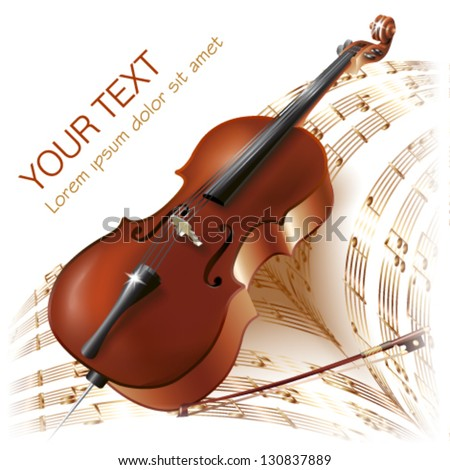 Musical background series. Classical cello, isolated on white background with musical notes. Vector illustration - stock vector