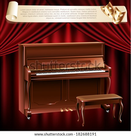 Musical background series. Classical piano and a stool on a red velvet curtain background  - stock vector