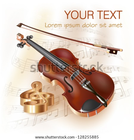 Musical background series. Classical violin, isolated on white background with musical notes - stock vector