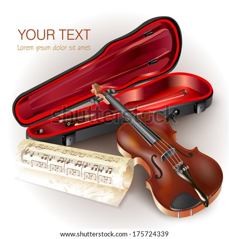Musical background series. Classical violin, isolated on white background with musical notes . Vector illustration  - stock vector