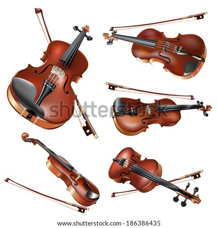 Musical background series. Set of classical violins in different projections, isolated on white background . Vector illustration  - stock vector