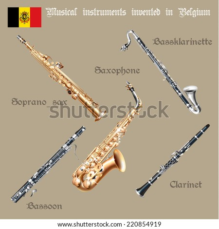 Musical background series. Set of musical instruments invented in Belgium. Vector Illustration - stock vector