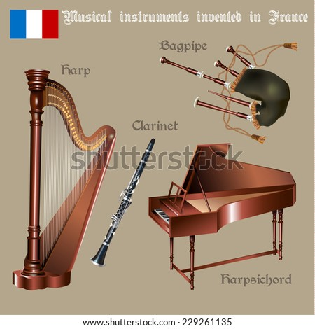 Musical background series. Set of musical instruments invented in France. Vector Illustration - stock vector
