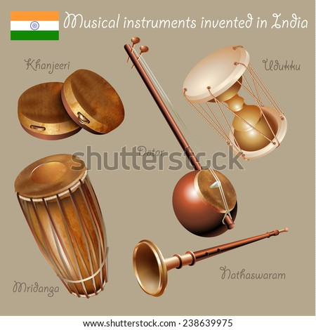 Musical background series. Set of musical instruments invented in India. Vector Illustration - stock vector