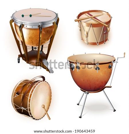 Musical background series. Set of percussion instruments, isolated on white background. Vector illustration  - stock vector