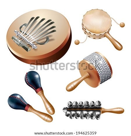 Musical background series. Set of percussion instruments (noisemakers), isolated on white background. Vector illustration - stock vector