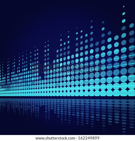 musical background with blue lines on dark blue - stock vector