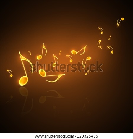 musical background with flowing golden notes - stock vector