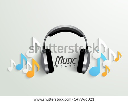 Musical background with headphone and colorful music notes, can be use as banner, flyer, poster or background.  - stock vector