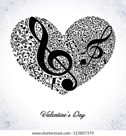 musical background with heart - stock vector