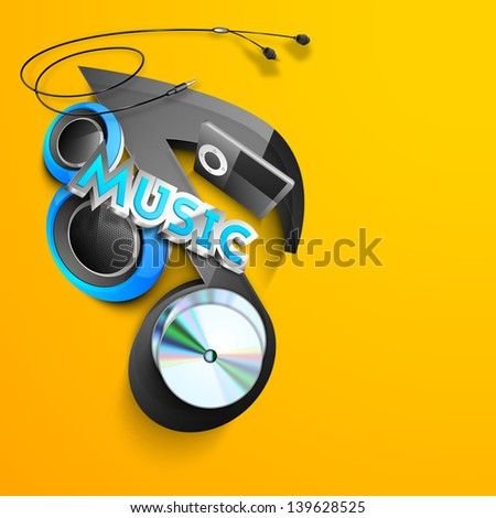 Musical background with notes on yellow. - stock vector