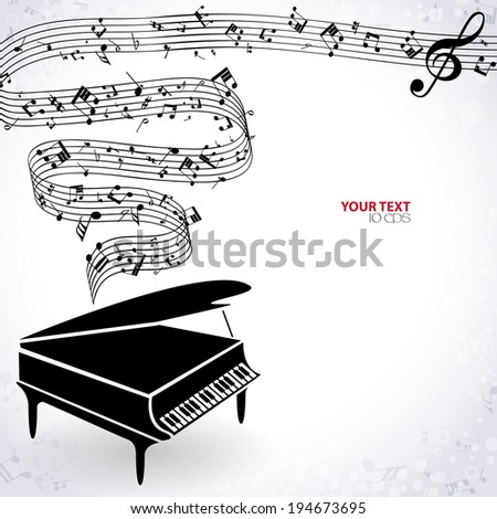 musical background with piano  - stock vector