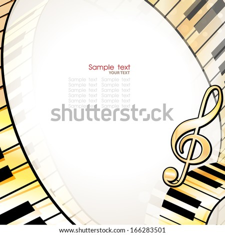 musical background with piano keys - stock vector
