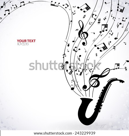 musical background with saxophone - stock vector