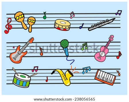 Musical cartoon - stock vector