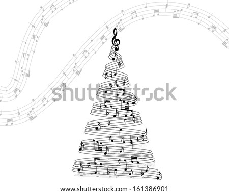 Musical Christmas Design Elements From Music Staff With Treble Clef And Notes in Black and White Colors. Elegant Creative Design With Shadows and Isolated on White. Vector Illustration. - stock vector