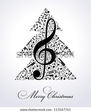 musical christmas tree - stock vector