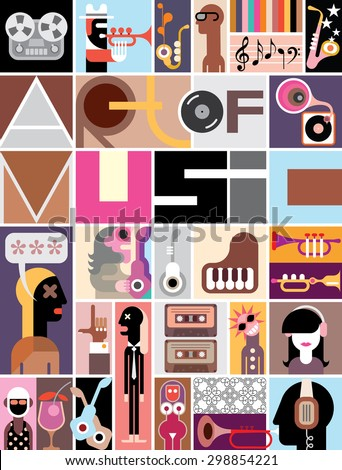 "Musical collage of various images - colorful vector illustration with text ""Art of Music"". - stock vector"