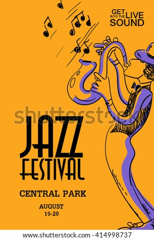 Musical creative poster saxophone player jazz stock vector 414998737 musical creative poster with saxophone player jazz festival design concept invitation stopboris Image collections