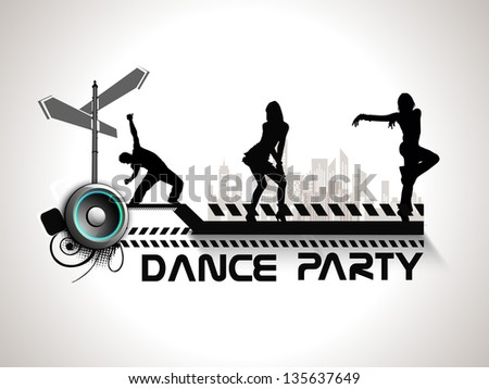 Musical dance party background. flyer or banner with silhouette of dancing girls on grey background. - stock vector