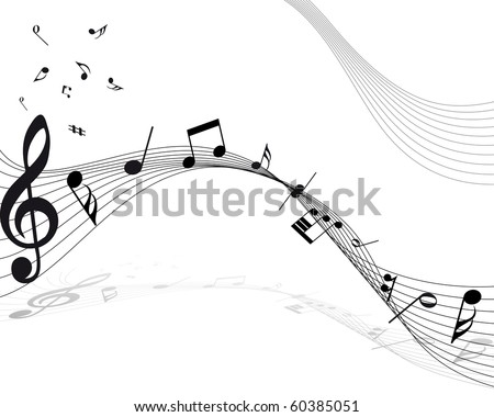 Musical Design Elements From Music Staff With Treble Clef And Notes. Vector Illustration. - stock vector