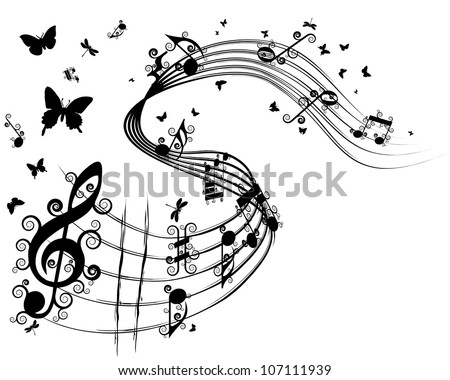Musical Design Elements From Music Staff With Treble Clef, Swirls, Butterflies And Notes in Black and White Colors. Elegant Creative Design With Shadows and Isolated on White. Vector Illustration. - stock vector