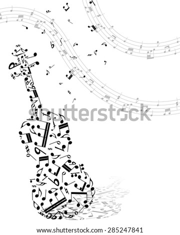 Musical Design Elements From Music Staff With Viola  And Notes in Black and White Colors. Elegant Creative Design With Shadows and Isolated on White. Vector Illustration. - stock vector