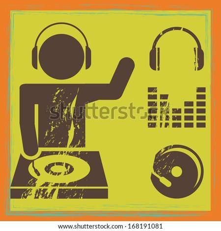 musical design over green  background vector illustration  - stock vector