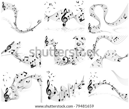 Musical Designs Sets With Elements From Music Staff , Treble Clef And Notes in Black and White. Vector Illustration.  - stock vector