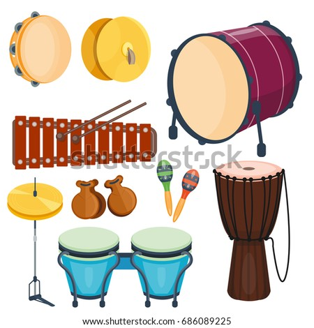 Musical Drum Wood Rhythm Music Instrument Series Set Of Percussions Vector Illustration