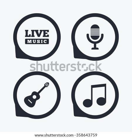 Musical elements icons. Microphone and Live music symbols. Music note and acoustic guitar signs. Flat icon pointers. - stock vector