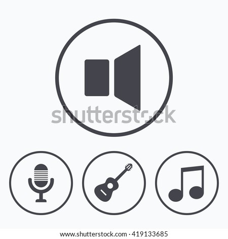 Musical elements icons. Microphone and Sound speaker symbols. Music note and acoustic guitar signs. Icons in circles. - stock vector