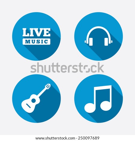 Musical elements icons. Musical note key and Live music symbols. Headphones and acoustic guitar signs. Circle concept web buttons. Vector - stock vector