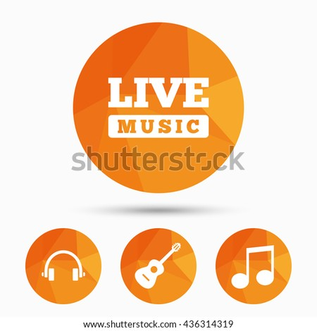 Musical elements icons. Musical note key and Live music symbols. Headphones and acoustic guitar signs. Triangular low poly buttons with shadow. Vector - stock vector