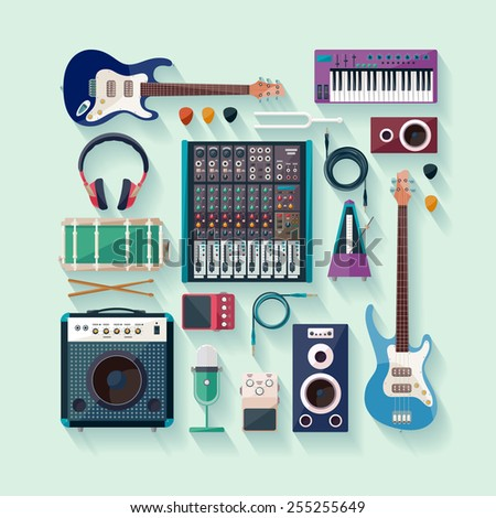 Musical equipment. Flat design. - stock vector
