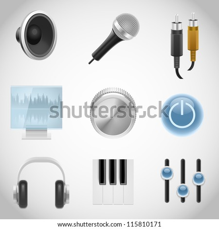 musical equipment vector icons - stock vector