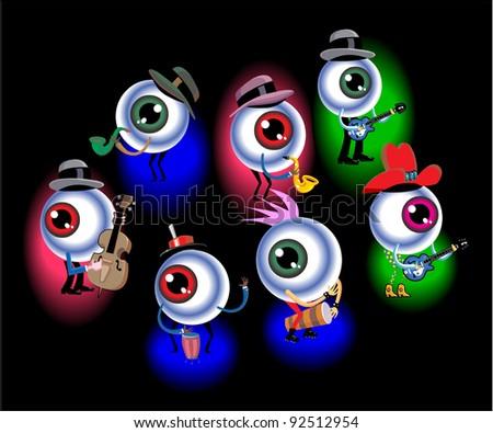Musical Eyeballs - stock vector