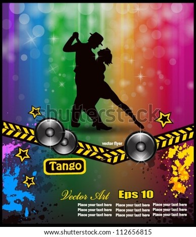 Musical flyer for valzer party or tango argentino exhibitions. - stock vector