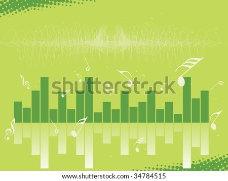 musical graph and green background, wallpaper