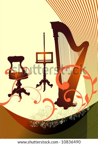Musical harp - stock vector
