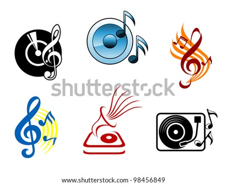 Musical icons and symbols for design and decoration, such  a logos. Jpeg version also available in gallery - stock vector