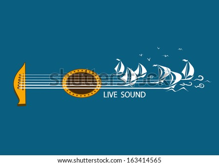 Musical illustration with concept guitar and sailing ships - stock vector