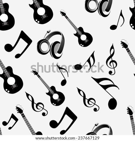 Musical instrument and notes with seamless pattern. - stock vector