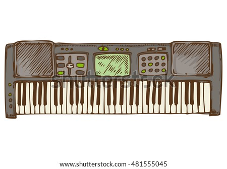 Musical Instrument. Gray Synthesizer. Isolated on a White