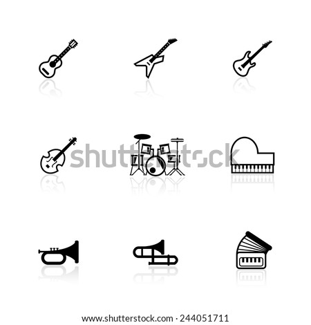 musical instrument icons - stock vector
