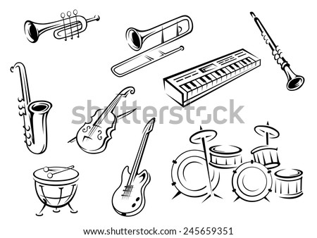 Musical instrument icons in outline style with guitar, violin, trumpets, saxophone, piano and drums for classic orchestra concept design - stock vector