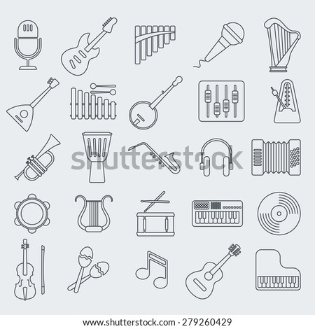 Musical instrument line vector icon. - stock vector